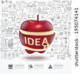 infographic apple doodles line... | Shutterstock .eps vector #195074141