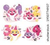 set of baby shark birthday...   Shutterstock .eps vector #1950774937