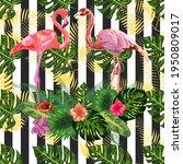 print beautiful tropic pink...   Shutterstock . vector #1950809017
