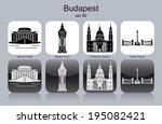 landmarks of budapest. set of... | Shutterstock .eps vector #195082421