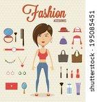 woman flat character design... | Shutterstock .eps vector #195085451