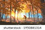 Man Riding A Bicycle In The...