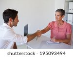 casual business people shaking... | Shutterstock . vector #195093494