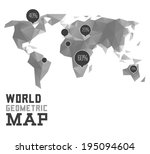 3d vector polygonal world map...