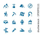 Hiking set icons Content: eps ver.10, ai cs4 vector, high-res rgb jpg. Vector files contains separate layers.