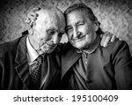 a loving  handsome senior... | Shutterstock . vector #195100409