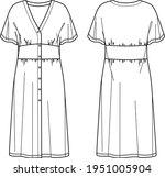 vector midi short sleeved dress ... | Shutterstock .eps vector #1951005904
