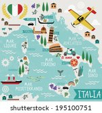 cartoon map of italy  | Shutterstock .eps vector #195100751