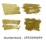 gold paint smear stroke stain... | Shutterstock .eps vector #1951044694