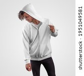 mockup of white hoodie with... | Shutterstock . vector #1951049581