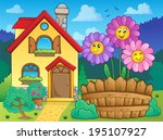 house and flowers 2   eps10... | Shutterstock .eps vector #195107927