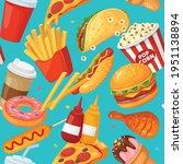 fast food seamless pattern....   Shutterstock .eps vector #1951138894