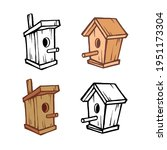 birdhouse hand drawn cartoon vector illustration colored and outline doodle set