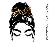 messy hair bun with leopard... | Shutterstock .eps vector #1951177267