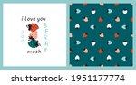 strawberry vector set. seamless ... | Shutterstock .eps vector #1951177774