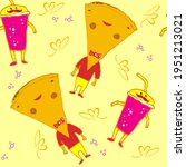 seamless pattern set of food...   Shutterstock .eps vector #1951213021