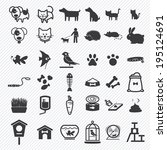 pet icons set. illustration... | Shutterstock .eps vector #195124691