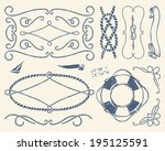 set of vintage nautical... | Shutterstock .eps vector #195125591