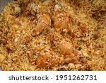 dum chicken biriyani  close up...