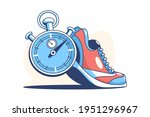 sneaker and stop watch vector...   Shutterstock .eps vector #1951296967
