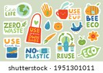 ecological stickers. collection ... | Shutterstock .eps vector #1951301011