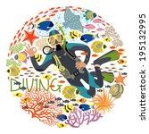 diver with underwater plants... | Shutterstock .eps vector #195132995