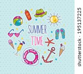 cute colorful set of summer... | Shutterstock .eps vector #195137225