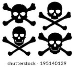Vector illustration. Silhouette of the Jolly Roger