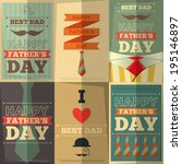 father's day retro posters set. ... | Shutterstock .eps vector #195146897