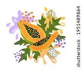 papaya fruit vector... | Shutterstock .eps vector #1951489864