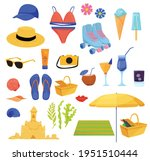 set of summer items isolated on ... | Shutterstock .eps vector #1951510444