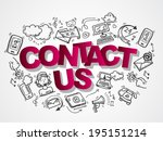 contact us phone customer... | Shutterstock .eps vector #195151214