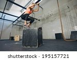 fit young woman box jumping at... | Shutterstock . vector #195157721