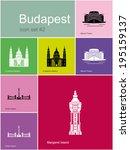 landmarks of budapest. set of... | Shutterstock .eps vector #195159137
