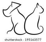 Stock vector cat and dog contour simplified black silhouettes isolated on white 195163577