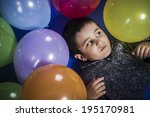 funny boy playing with balloons ... | Shutterstock . vector #195170981