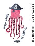 cute pirate octopus. watercolor ... | Shutterstock . vector #1951712161