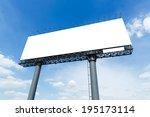 blank billboard in city on blue ...   Shutterstock . vector #195173114