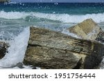 Sea Waves Hitting The Rock. The ...