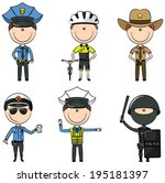 collection of police department ... | Shutterstock .eps vector #195181397