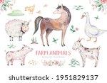 Farms Animal Set. Cute Domestic ...
