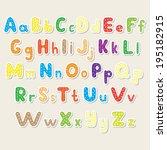 set of the color alphabet cut... | Shutterstock . vector #195182915
