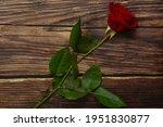 Red Rose Flower On Vintage...