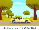 yellow car drive on road in... | Shutterstock .eps vector #1951868074
