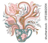 coffee time art  cup with... | Shutterstock .eps vector #1951882054