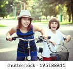 two children with bicycles bike ... | Shutterstock . vector #195188615