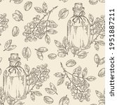 Seamless pattern with sichuan pepper: plant, pepper, leaves and bottle of sichuan pepper essential oil. Cosmetic, perfumery and medical plant. Vector hand drawn illustration.