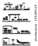 cargo terminals icon set  ... | Shutterstock .eps vector #195189119