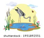 a heron bird stands in the lake ...   Shutterstock .eps vector #1951892551