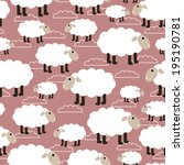 sheep seamless background.... | Shutterstock .eps vector #195190781